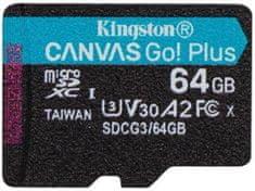 Kingston microSDXC 64GB Canvas Go Plus 170R A2 U3 V30 (SDCG3/64GBSP)