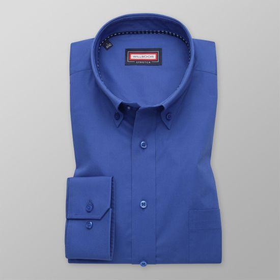 Willsoor Pánská košile klasická modré barvy s puntíkovaným prvkem 11651