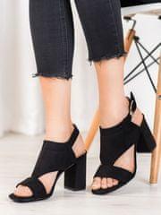 Vinceza Originální sandály dámské černé na širokém podpatku