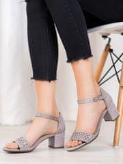 Designové sandály dámské šedo-stříbrné na širokém podpatku