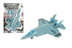 Teddies Letadlo/stíhačka vojenská A-98 plast 22cm na zpětné natažení na kartě