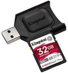 Kingston Canvas REACT Plus SD kartica, 32 GB + adapter