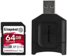 Kingston SDXC 64GB Canvas React Plus UHS-II V90 + čítačka (MLPR2/64GB)