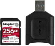 Kingston SDXC 256GB Canvas React Plus UHS-II V90 + čítačka (MLPR2/256GB)
