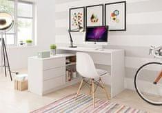 Laski Bílý psací stůl s komodou Teo