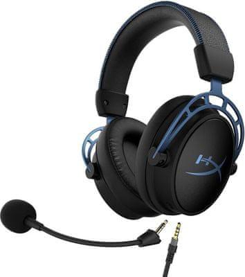 Fejhallgató Kingston HyperX Cloud Alpha S (HX-HSCAS-BL/WW), 50 mm átalakítók, 7.1 térhangzás, keverő, basszusok beállítása, minőségi hangzás