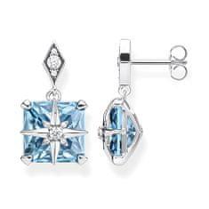 """Thomas Sabo Náušnice """"Modrý kámen s hvězdou"""" , H2108-644-31, Sterling Silver, 925 Sterling silver, blackened, synthetic spinel blue, zirconia white"""