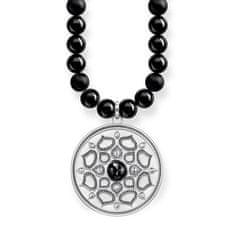 """Thomas Sabo Náhrdelník """"Čierny lotosový kvet"""" Thomas Sabo, KE1642-326-11-L60, Sterling Silver, 925 Sterling silver, blackened, obsidian, onyx"""