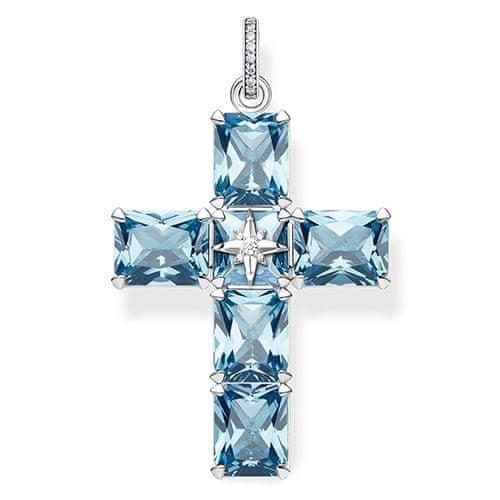 """Thomas Sabo Prívesok """"Kríž veľké modré kamene s hviezdou"""" , PE880-644-1, Sterling silver, 925 Sterling silver, blackened, synthetic spinel light blue, zirconia white"""
