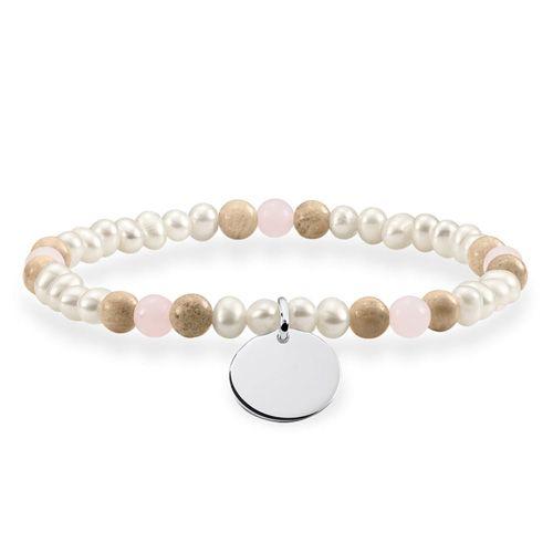 "Thomas Sabo Náramok ""Farebný"" , LBA0110-350-7-L16,5, Love Bridge, 925 Sterling silver, freshwater pearl, rose quartz, jasper"