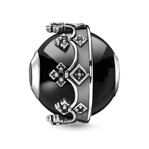 "Thomas Sabo Korálka ""Koruna"" , K0348-641-11, Karma Beads, 925 Sterling silver, blackened, agate, zirconia black"
