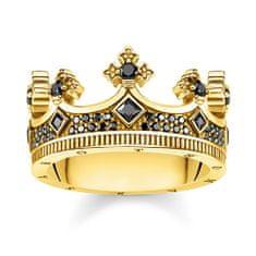 "Thomas Sabo Prsten ""Koruna"" , TR2208-414-11-54, Sterling Silver, 925 Sterling silver, 18k yellow gold plating, zirconia black"