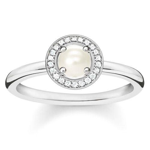 "Thomas Sabo Prsteň ""Perla"" , D_TR0007-765-14-52, Sterling Silver, 925 Sterling silver, freshwater pearl, white diamond"