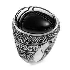 """Thomas Sabo Prsteň """"Čierny vrubon"""" Thomas Sabo, TR2134-641-11-60, Sterling Silver, 925 Sterling silver, blackened, onyx, zirconia black"""
