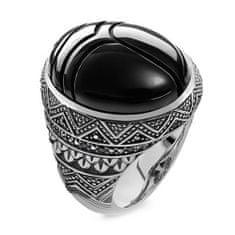 """Thomas Sabo Prsteň """"Čierny vrubon"""" Thomas Sabo, TR2134-641-11-68, Sterling Silver, 925 Sterling silver, blackened, onyx, zirconia black"""