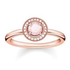 "Thomas Sabo Prsteň ""Svetlo Luny"" Thomas Sabo, D_TR0009-925-9-56, Sterling Silver, 925 Sterling silver, 18k rose gold plating, rose quartz, white diamond"