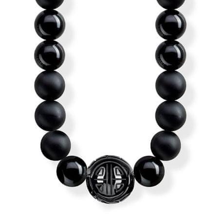 """Thomas Sabo Ogrlica """"Etnično črna"""" , KE1674-704-11-L100, Sterling Silver, 925 Sterling srebro, pocrnjeno, obsidijan"""