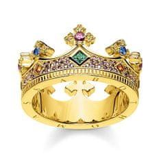 "Thomas Sabo Prsten ""Koruna"" , TR2265-973-7-54, Sterling Silver, 925 Sterling silver, 18k yellow gold plating, synthetic corundum, glass-ceramic stone"