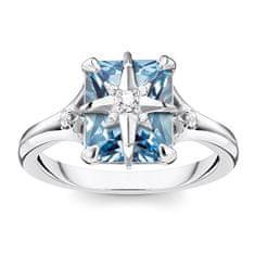 "Thomas Sabo Prsten ""Modrý kámen s hvězdou"" , TR2288-644-1-54, Sterling Silver, 925 Sterling silver, blackened, synthetic spinel blue, zirconia white"