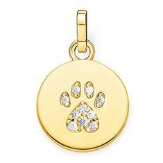 """Thomas Sabo Přívěsek """"Tlapka kočky"""" , PE882-414-14, Sterling Silver, 925 Sterling silver, 18k yellow gold plating, zirconia white"""