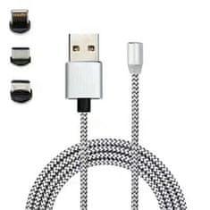 MasterMobile Nabíjecí kabel MasterMobile STANDARD 3v1 USB/USB-C, Lightning, MicroUSB magnetický opletený 1m stříbrný
