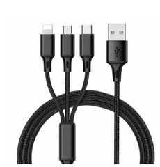 MasterMobile Datový kabel MasterMobile STANDARD 3v1 USB 2.0/iPhone Lightning/microUSB/USB C 2,4A 1,2m extraodolný nylonový černý certifikovaný CE