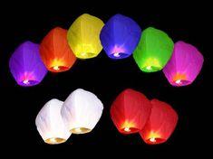 Létající lampion štěstí - přání -mix barev - 10ks/balení