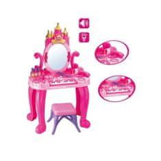 BAYO Detský toaletný stolík s pianom a stoličkou Bayo + príslušenstvo 13 ks Ružová