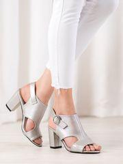 Trendy dámské šedo-stříbrné sandály na širokém podpatku