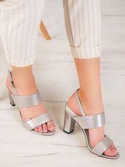Exkluzívní šedo-stříbrné sandály dámské na širokém podpatku