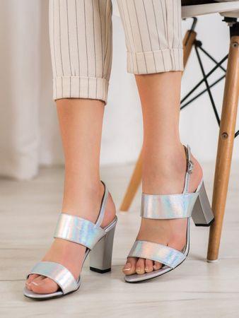 Sandały damskie 63122, odcienie szarości i srebra, 39