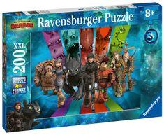 Ravensburger puzzle Jak wytresować smoka 3: Smoczy jeźdźcy, 200 elementów, XXL