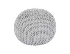TEMPO KONDELA Pletený taburet, smetanová (bílý melír) bavlna, GOBI TYP 2