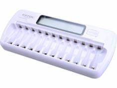 Extol Energy Nabíječka baterií AAA/AA, NiMh/NiCd, 12 slotů, individuální nabíjení, LCD