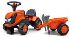 Falk Pomarańczowy traktor Kubota z kierownicą i przyczepką