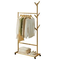 TEMPO KONDELA Pojazdný vešiak, bambus, šírka 80cm, VIKIR TYP 2