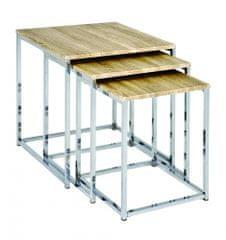 Mørtens Furniture Konferenčné stolíky Corbin, súprava 3 kusov, dub