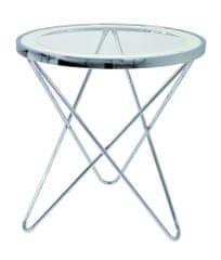 Mørtens Furniture Odkladací stolík Travis, 56 cm, číra/chróm