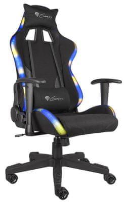 Herní židle Genesis Trit 600 RGB, nastavitelné barevné RGB LED podsvícení, dálkový ovladač
