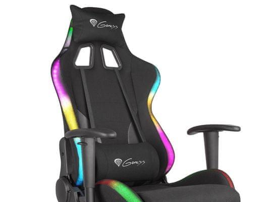 Herní židle Trit 600 RGB, pohodlná, nastavitelný sedák, úhel opěradla, bederní podpěra, bederní a krční podpora, paměťová pěna, opěrky na ruce