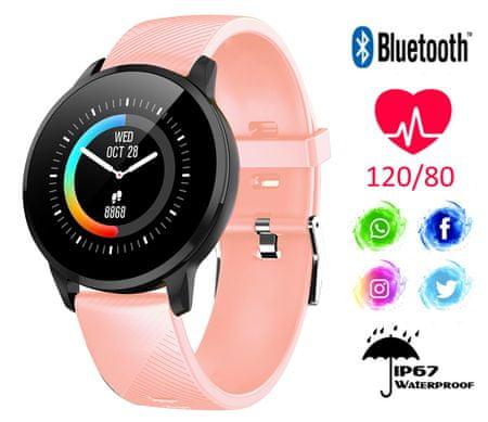 Trevi T-FIT 220 športna ura/zapestnica, Bluetooth, srčni utrip, športne aktivnosti, roza