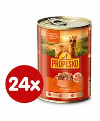 Propesko hrana za odrasle pse majhnih in srednjih pasem, piščanec, testenine in korenje, 24 x 415 g