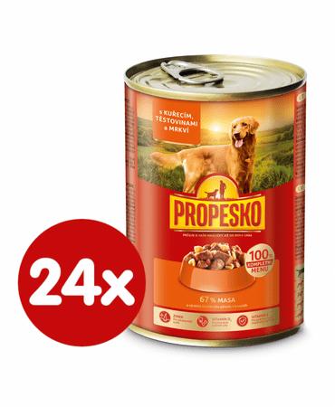 Propesko Kutyakonzerv, csirkehús, sárgarépa, tészta, 24 x 415 g