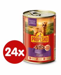 Propesko hrana za odrasle pse majhnih in srednjih pasem, piščanec, divjačina in govedina, 24 x 415 g