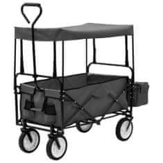 shumee Skládací ruční vozík se stříškou ocel šedý