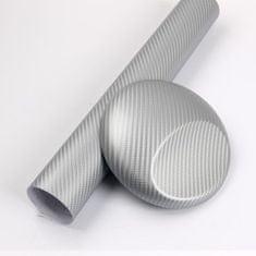 CWFoo 3D Karbonová stříbrná wrap auto fólie na karoserii