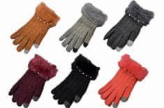 Rękawiczki damskie do ekranu dotykowego - kolor bordowy