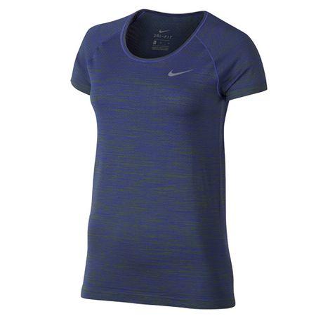 Nike W NK DF KNIT TOP SS, 10 | RUNNING | ŽENSKE | KRATEK SLEEVE TOP | PALM ZELENA / PARAMOUNT BLUE | Z