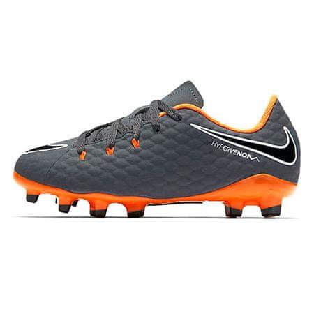 Nike JR FANTOM 3 AKADEMIJA FG, 20 | FOOTBALL / SOCCER | GRD ŠOLA UNSX | NIZKA VRH | TEMKA GREJ / SKUPAJ ORANŽNO-BELA | 3.5Y