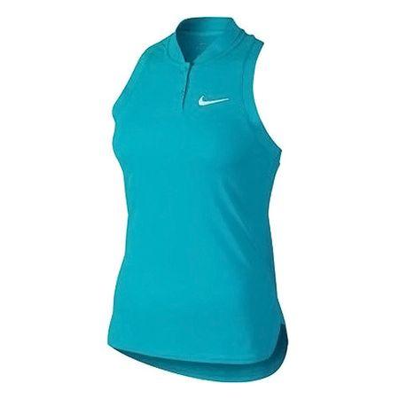 Nike PREMIER ADVANTAGE SLVS POLO, 10.   TENISZ NŐK   SLEEVELESS TOP   OMEGA KÉK / FEHÉR   L